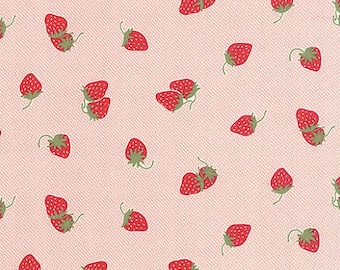 Hello Darling Fabric by Bonnie and Camille for MODA 17 Floral Strawberries and Cream on Light Pink
