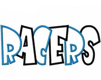 Racers 2 Color Embroidery Machine Applique Design 4373