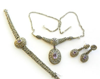 Amazing marcasite and amethyst necklace,bracelet and earrings set - Italian high quality - 925 italian Silver-Art.890/3-