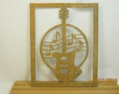 GUITAR ELECTRIC SCROLL Saw Plaque