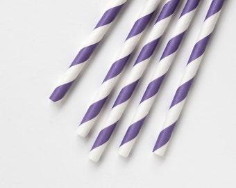 100 Purple Striped Paper Straws, Violet Striped Drinking Straws