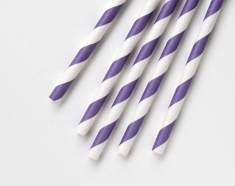 Purple Striped Paper Straws with DIY Flags (50)