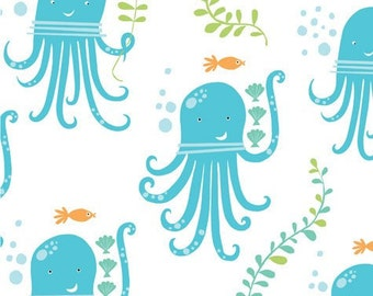 Organic Crib Sheet-Gender Neutral Sheet-Nautical Baby Crib Bedding- Monaluna Fabric-Octopus Party-Under the Sea-Changing Pad-Mini Sheet