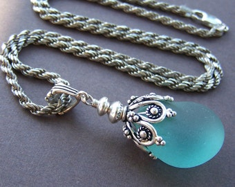 Grand Reef Necklace - Genuine Sea Glass Pendant with Sterling Silver