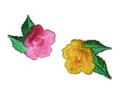 Set of (2) Tropical Flowers Embroidered Applique Pink and Yellow Iron On Patch Lot