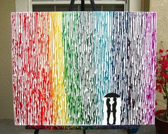 Lesbian Wedding Gift, Melted Crayon Art, Rainbow Painting, Lesbian Pride Umbrella Painting, Rainbow Decor, Couple Silhouette Lesbians 22x28