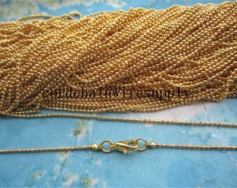 high quality Brass material 10pcs 12-28 inch 1.2mm bright gold facet ball chain necklace with 10mm lobster clasps