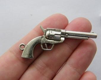 4 Gun pendants antique silver tone G18