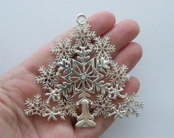 1 Christmas tree pendant silver plated snowflake design