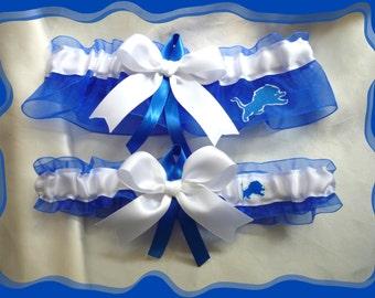 Detroit Lions Royal Organza Ribbon Wedding Garter Set
