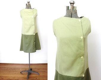 60s Mod Dress / 1960s Green Two Tone Mini Dress
