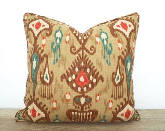 Brown ikat pillow cover 20x20 , brown and teal throw pillow with piping, teal sofa cushion , medallion pillow case Mother's Day gift