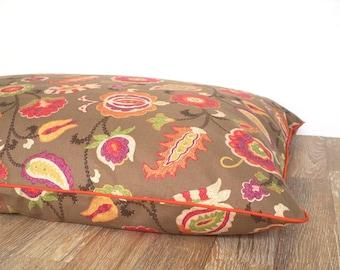 Flower dog duvet cover fall colors, large dog bed case gift idea dog lovers, big dog bed case floral decor, brown pet bedding