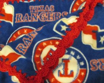 Baby Girl or Baby Boy Blanket Small Texas Rangers Baseball Fleece with Crochet Edge