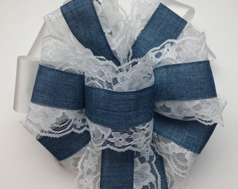 Wedding Pew Bows Lace Edged Denim Wired Ribbon over White Acetate Satin Ribbon Hand Tied