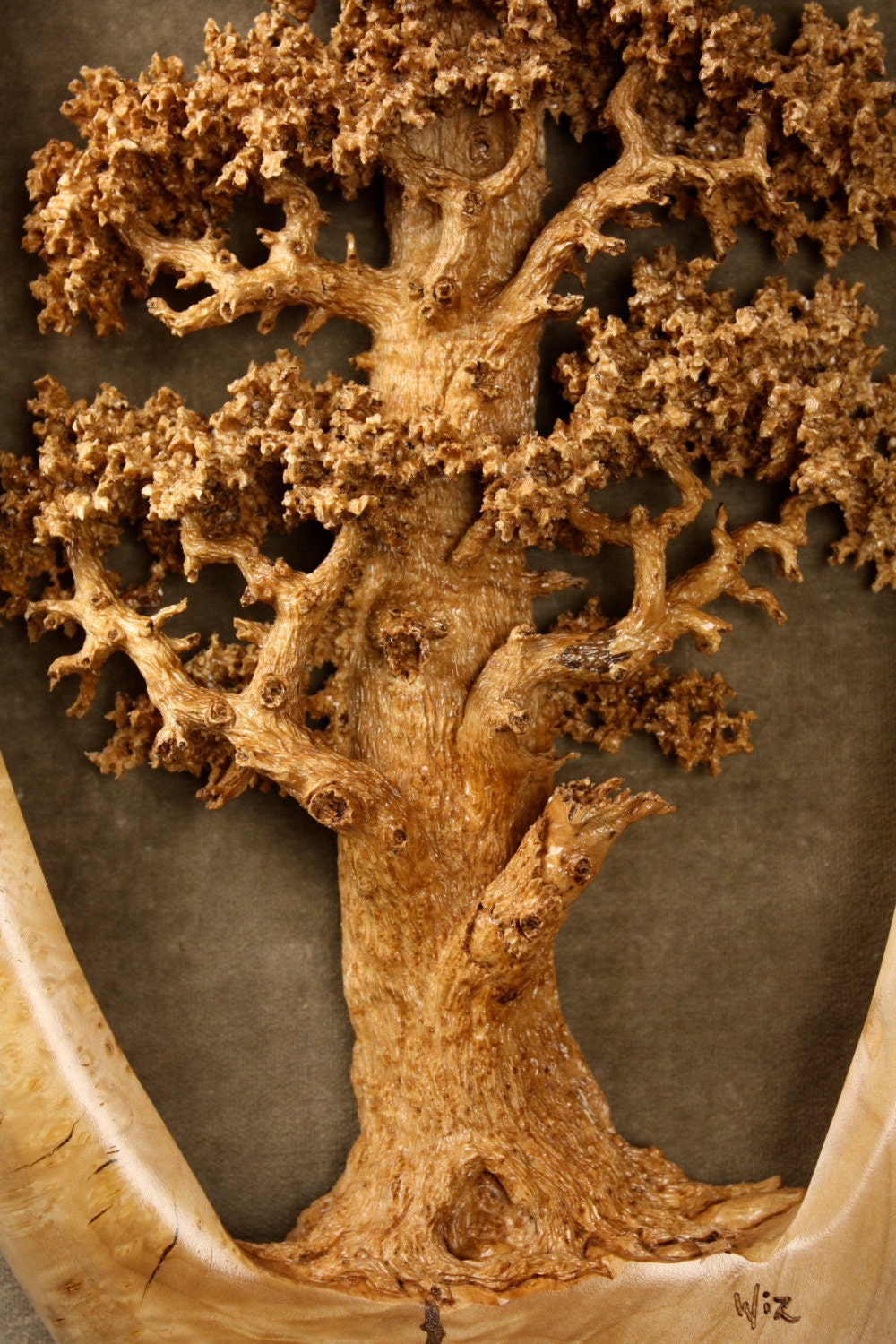 Expensive best of etsy carved wood oak tree carving