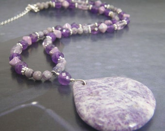EFFORTLESS Purple Necklace - Charoite Pendant - Beaded Pendant Necklace - Gemstone Jewelry - Handmade Jewelry - Natural Stone Jewelry