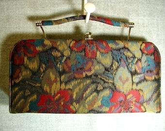Vintage Mar-Shel Floral Handbag Convertible Clutch Excellent Condition
