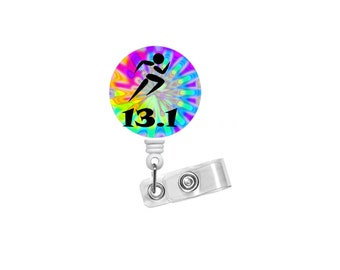 13.1 Running Badge - Tie Dye Badge Holder - Runner Badge Reel - Nursing Badge - Teacher Badge Reel - Medical Badge - Fun Badge Reel - RN