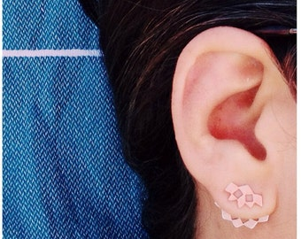 Short Mashrabiya Earjacket. Sterling Silver Ear Jacket. Modern Geometry. Handmade Silver Lace Earring. Architectural Unisex Recycled Earcuff