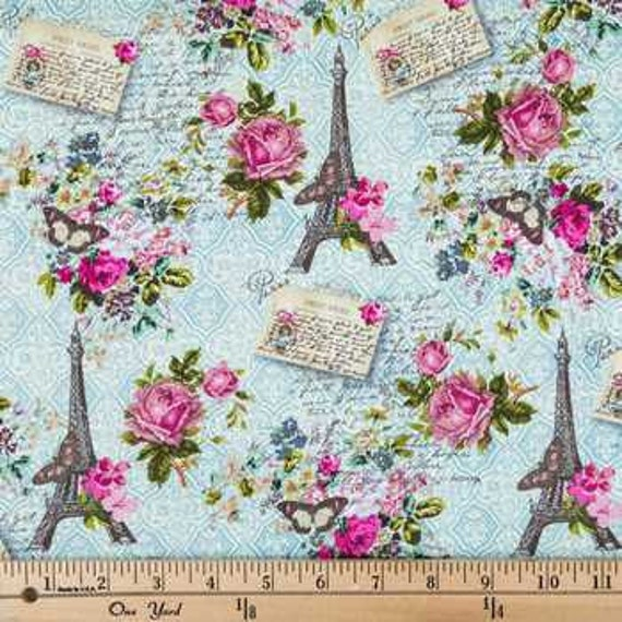 Paris Fabric By The Yard: Vintage Paris Fabric Fat Quarter 1/2 Yard Or By The By