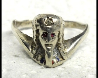 1920s Vintage Egyptian Pharaoh Sterling Silver Ring FREE SHIPPING