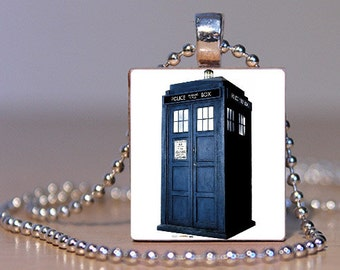 Tardis Dr. Who Scrabble Tile Pendant FREE CHAIN!