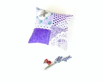 Lavender sachet pillow, organic aromatherapy, home decor purple orchid, organic lavender gift for her, scented pillow