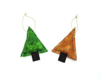 Organic pine sachet set, sachet ornaments, hanging sachet set of two, hostess gift, teacher gift, gift under 10, green and gold trees
