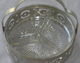 Vintage Glass Jam Dish w/Silver-Toned Handle