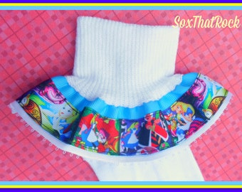 Alice in Wonderlad inspired girls ruffle socks - completely customizable -  pick top ribbon color