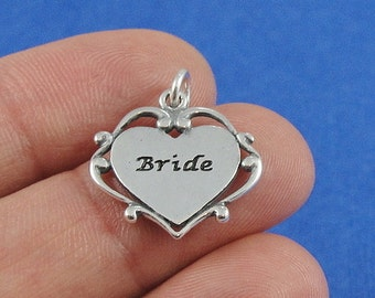 Bride Charm - Sterling Silver Wedding Bride Charm for Necklace or Bracelet