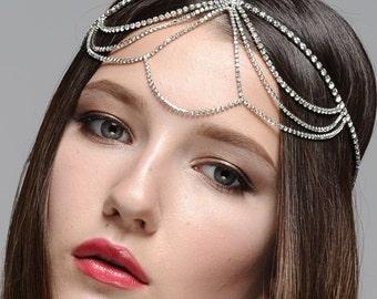 Bridal Wedding Bohemian Rhinestone Headband Head Piece Forehead Headdress Head Chain Headchain
