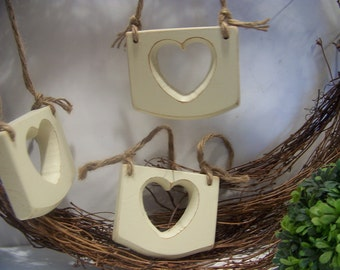 Collection of 3 Wooden Hearts Hanging Accents Home Decor Peg Hangers Wedding Decor