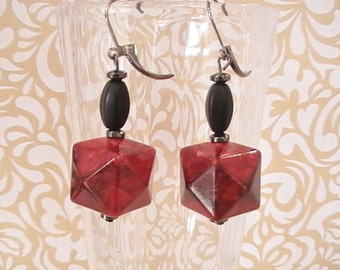 Matte Black Crystal and Marbled Cube Dangles