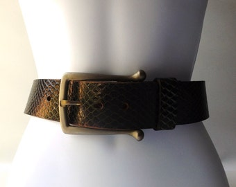 vintage 1980's leather belt sz 38 black mens womens fashion clothing retro thick wide accessories modern gold metal buckle faux snakeskin