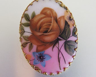Pretty Vintage 1950's Floral Transfer Brooch West Germany