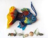 Felt fish purse cosmetic purse felt purse Blue   Fish  Yellow Turquoise fish octopurse nautical fanny packs by Galafilc