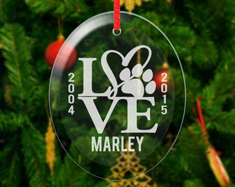 Memorial Dog Ornament Personalized Heart Paw Christmas Ornaments Pet Memorial Gift Ornaments Love Engraved Names Date Personalized Cat Dog