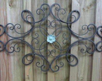 Iron Metal Wall Decor, distressed turquoise flower, wall art, Shabby and Chic, Home Decor, Cottage Wall Decor