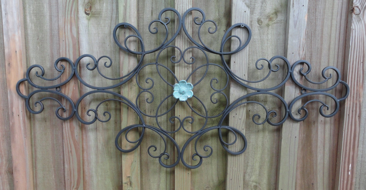Distressed Metal Wall Decor : Iron metal wall decor distressed turquoise flower art