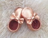 Unique Metallic Copper Moccasins custom baby bow moccs