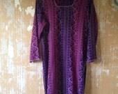 vintage.  Indian Purple Long Tunic // Blouse Dress Tunic Bohemian Boho  M