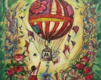 Untitled 2- Whimsical Vintage Painting Fine Art Print, Hot Air Balloon, Little Girl, Cat, Birdcage, Angels, Roses, Fairytale, Fantasy, Green
