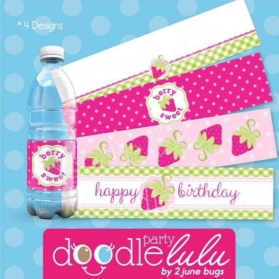 Party Printables DIY Favors Strawberry Birthday
