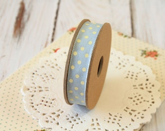 BLUE with Cream dots fabric cotton blend ribbon