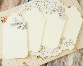 rustic BOOKMARKS Fancy Floral WHITE Scallop swing hang Tags craft label