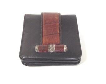 Vintage Brighton Wallet * Large Pockets * lipstick mirror *  Black Leather * mock croc * Organizer