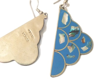 Vintage silver alpaca mexico earrings, clouds blue abalone