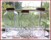 Collection of 3 Clear HALF GALLON Jars Vintage Ball Kerr Presto Square Jars